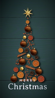Feestelijke kerst banner met kerstboom