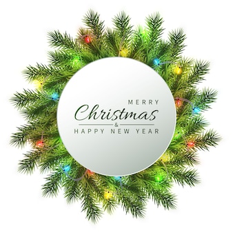 Feestelijke kerst- en nieuwjaarsbanner. kerstmisspar takken met lichte slinger. vakantie's achtergrond.