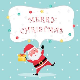 Feestelijke kerst- en nieuwjaarscollectie met lichtblauwe wenskaart met merry christmas-tekst, kerstman en geschenkdoos