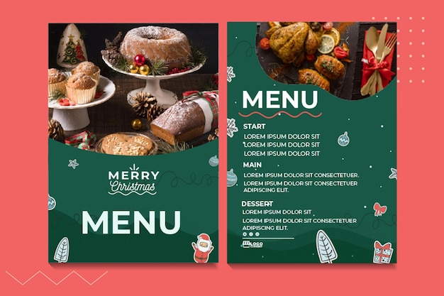 Feestelijke kerst menusjabloon
