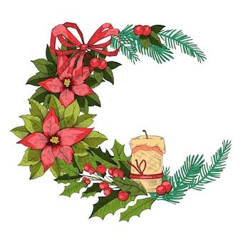 Feestelijke kerstkrans in vintage gravure stijl met fir takken, kaars, hulst bladeren, poinsettia. nieuwjaar of kerst vakantie grens geïsoleerd op wit. kerst traditionele dennenkrans