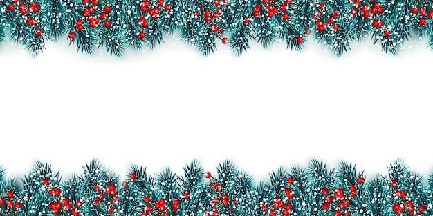 Feestelijke kerstmis of nieuwjaar achtergrond. kerstboomtakken met hulstbessen en kerstsneeuw. vakantie achtergrond. vector illustratie.