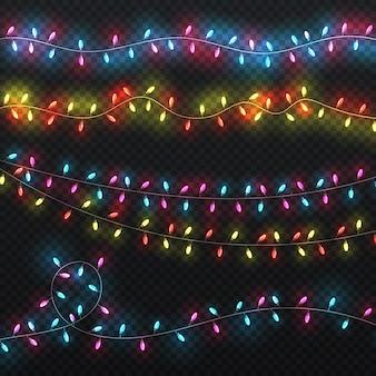 Feestelijke kerstverlichting. xmas verlichting carnaval vakantie slingers vector set. slingerdecoratie voor de illustratie van carnavalkerstmis en van de nieuwe jaarvakantie