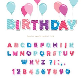 Feestelijke kleurrijke papier knipsel lettertype.
