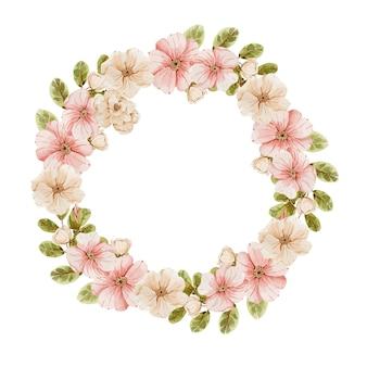 Feestelijke krans met swatlo roze bloemen en bladeren