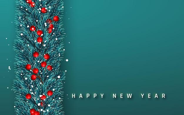 Feestelijke nieuwjaarsachtergrond. kerst slinger. boomtakken met hulstbessen en kerstsneeuw. vakantie achtergrond. vector illustratie.
