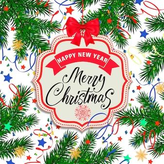 Feestelijke ontwerp van kerstmis en nieuwjaarskaart