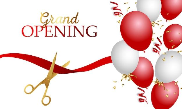 Feestelijke opening banner met lint, ballonnen en gouden schaar, confetti. Premium Vector
