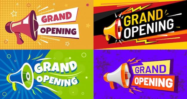 Feestelijke opening banners. uitnodigingskaart met megafoon-luidspreker, geopend evenement en opening viering reclame flyer set