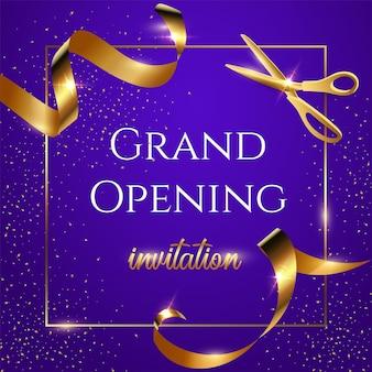Feestelijke opening blauwe uitnodigingsbanner glanzende schaar die gouden lint snijdt 3d-realistische illustratie Premium Vector