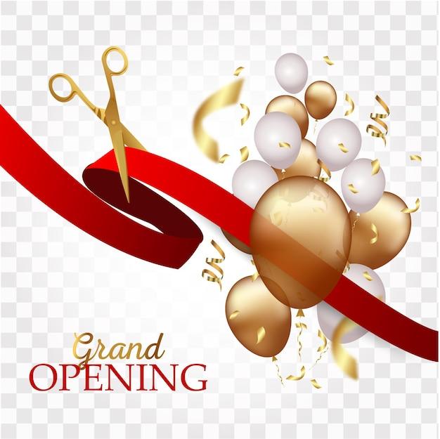 Feestelijke opening ontwerp met lint, ballonnen en gouden schaar, confetti.
