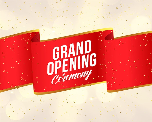 Feestelijke opening rood lint banner ontwerpsjabloon