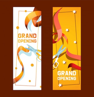 Feestelijke opening van winkel, winkeladvertentieset van banners of flyers