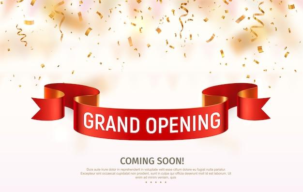 Feestelijke opening vector banner. viering van open binnenkort lichte achtergrond met rood lint en confetti.