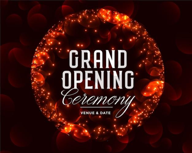 Feestelijke openingsceremonie viering sjabloonontwerp met glitters