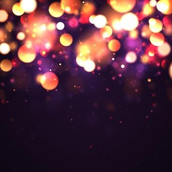 Feestelijke paarse en gouden lichtgevende achtergrond met gouden kleurrijke lichten bokeh. concept wenskaart. magische vakantie poster, banner. nacht helder goud schittert licht abstract.