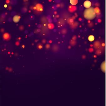 Feestelijke paarse en gouden lichtgevende achtergrond met kleurrijke lichten bokeh. concept wenskaart. magische vakantie poster, banner. nacht helder goud schittert licht abstract