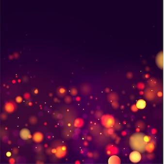 Feestelijke paarse en gouden lichtgevende achtergrond met kleurrijke lichten bokeh kerstmis concept xmas wenskaart magische vakantie poster banner nacht heldere gouden sparkles vector licht abstract