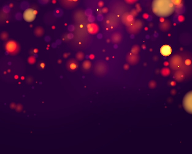 Feestelijke paarse en gouden lichtgevende achtergrond met kleurrijke lichten bokeh. xmas wenskaart. magische vakantie poster, banner. nacht helder goud schittert licht abstract