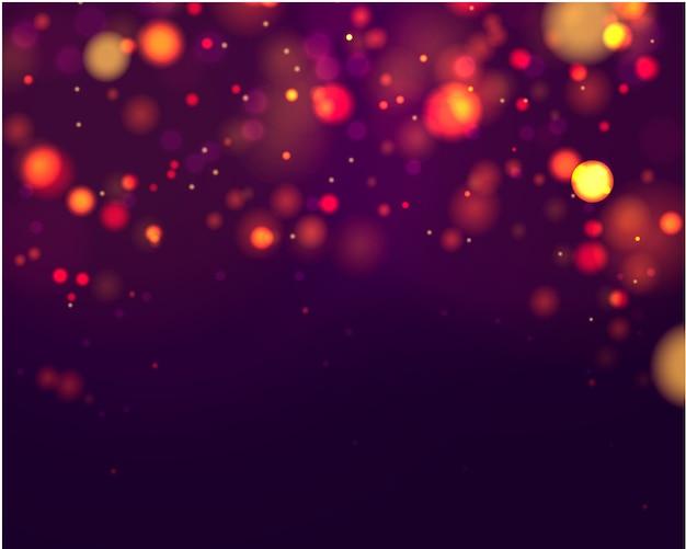 Feestelijke paarse en gouden lichtgevende achtergrond met kleurrijke lichten bokeh.