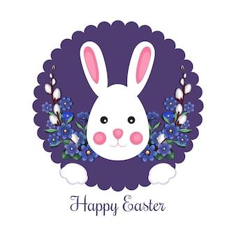 Feestelijke pasen-banner met konijntje en traditionele pasen-groet. gelukkige pasen-illustratie