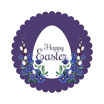 Feestelijke pasen-banner met traditionele pasen-groet. lentebloemen en paasei
