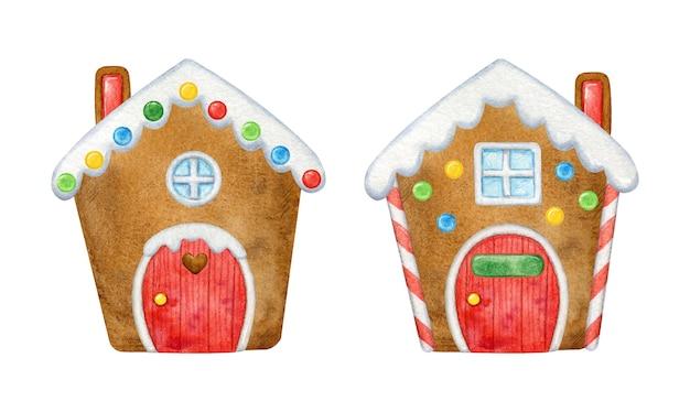 Feestelijke peperkoekhuisjes versierd voor kerst