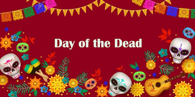 Feestelijke poster voor dag van de doden met suikerschedels