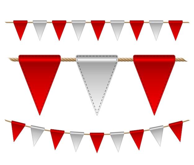 Feestelijke rode en witte vlaggen op witte achtergrond.