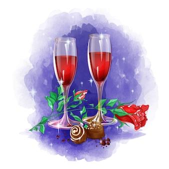 Feestelijke samenstelling van twee glazen wijn, rozen en chocolaatjes op een aquarel achtergrond.