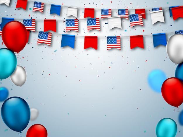 Feestelijke slingers van vlaggen van de vs en luchtballonnen