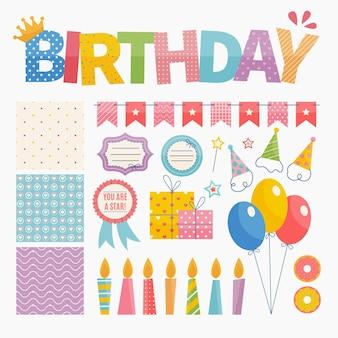 Feestelijke verjaardag plakboekelementen instellen