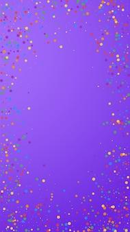 Feestelijke welgevormde confetti. viering sterren. kleurrijke confetti op violette achtergrond. fascinerende feestelijke overlay-sjabloon. verticale vectorachtergrond.