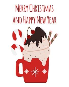 Feestelijke winterbeker met een drankje een mok warme chocolademelk, cacao of koffie met slagroom