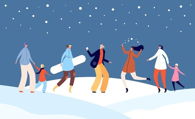 Feestelijke wintermensen. prettige vakantie, kerstgezin met kinderen op de straatillustratie van de sneeuwstad. xmas nieuwjaar menigte vector. illustratie familie recreatie winter, kerst buiten vrije tijd
