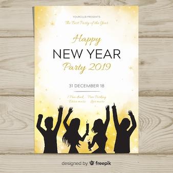 Feestende vrienden silhouetteren nieuwe jaaraffiche