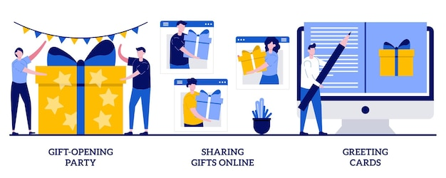 Feestje voor het openen van geschenken, online geschenken delen, wenskaartenconcept met kleine mensen
