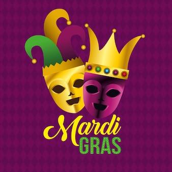 Feestmaskers met hoed en kroon voor mardi gras