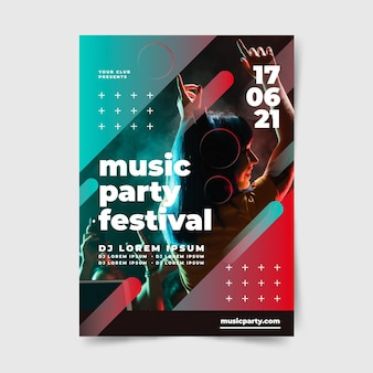 Feestmuziek festival poster mensen dansen