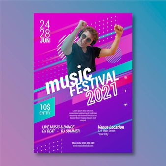Feestmuziek festival poster met man met hoofdtelefoon
