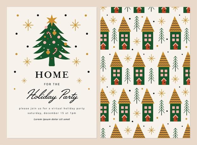Feestsjabloon uitnodiging ontwerp met kerstboom
