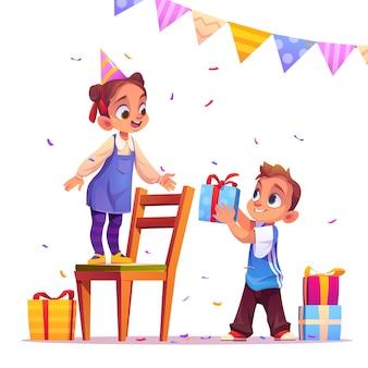Feestvarken ontvangt cadeau van jongen, feest, evenement