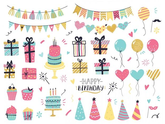 Feestviering hand getrokken elementen. groet verjaardagskaart details, kleurrijke ballonnen, slingers, cupcakes, confetti en taarten met kaarsen. groet, uitnodiging kaartenset
