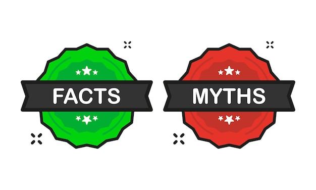 Feiten of mythen badge groene en rode stempel pictogram in vlakke stijl op witte achtergrond. vector illustratie.
