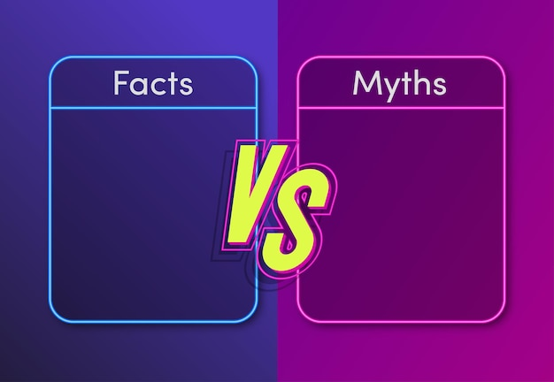 Feiten versus mythen neon stijl concept illustratie factchecking of gemakkelijk vergelijken bewijs concept