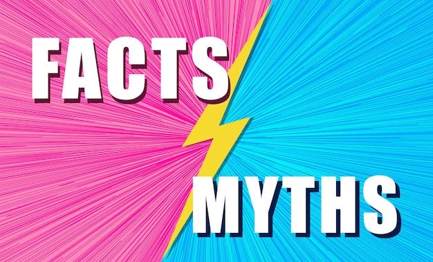Feiten versus mythen strijd op achtergrond pop-art komische stijl met bliksemschicht concept illustratie