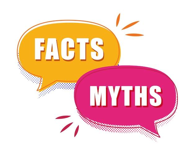 Feiten vs mythen toespraak bubble concept illustratie cartoon trendy moderne factchecking of gemakkelijk te vergelijken