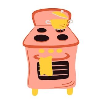 Felgekleurd gasfornuis met steelpan. voedsel bereiden en water koken op keukengasfornuizen. koken op brand vector set.
