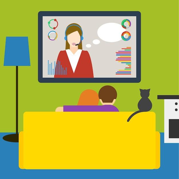 Felgekleurde illustratie in een trendy vlakke stijl met paar en kat kijken naar de sci-fi-uitzending op televisie zittend op de bank in de kamer