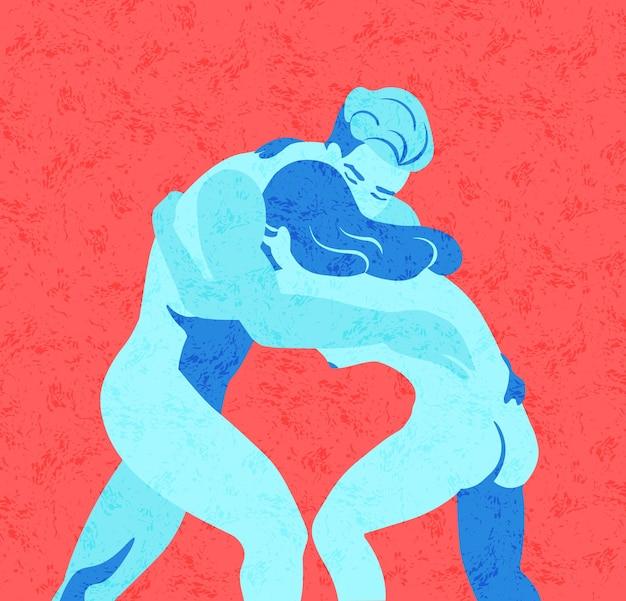 Felgekleurde naakte mannelijke en vrouwelijke personages worstelen of vechten. strijd tussen man en vrouw. concept van genderoorlog, strijd of strijd. kleurrijke vectorillustratie in eigentijdse stijl.